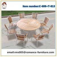 large round top wood outdoor set bright color garden furniture C608+T813 for sale