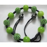 China 10MM Green Crystal Balls Shamballa Beads Bracelets with Natural Stones on sale