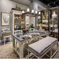 Wholesale American style home furnishing exhibition hall display furniture in Ash wood tall cabinet and wrought metal iron racks from china suppliers