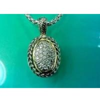 Wholesale (N-87) Women's Fashion Jewelry Silver Plated Cubic Zircon Oval Pendant Necklace from china suppliers