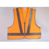 Wholesale Orange hi vis clothing Reflective safety vest with zipper front + 5 point break with snaps fasten from china suppliers