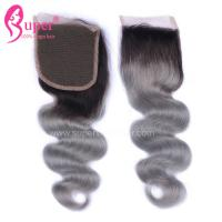Wholesale 4*4 Free Part Virgin Hair Closures Steam Processed Double Drawn Dark Ombre Color from china suppliers