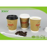 Wholesale 12oz Food Grade Custom Logo Printed Brown Kraft Ripple Paper Cup with Lids from china suppliers