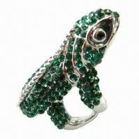 Wholesale Crystal ring, made of zinc alloy from china suppliers