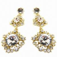 Wholesale Fashionable Stud Earrings with Large Clear Rhinestone Decorated, Made of Alloy from china suppliers