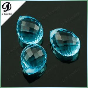 China Water Drop Bead Aquamarine Glass Gems Stone Wholesale on sale