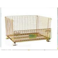Wholesale 800kg Zinc plated foldable and stackable Steel storage pallet container with castors from china suppliers