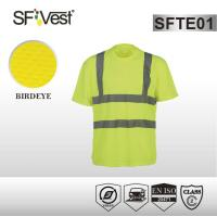 Buy cheap High vis bright color safety shirts with reflective tape , polyester birdeye mesh fabric from wholesalers