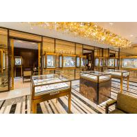 Wholesale Jewelry Store Interior display cabinets used golden metal counters for Jewellry store fitout fixture made from china from china suppliers