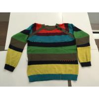 Quality 12 Gauge Long Sleeve Kids Knitted Sweater With Color Stripe Partern for sale