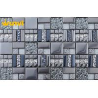 Wholesale OEM Dark Grey Glass And Metal Mosaic Tile , Mosaic Floor Tiles For Bathroom from china suppliers