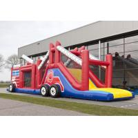 Wholesale Funny Fire Truck Bounce House Obstacle Course With Climbing Wall from china suppliers