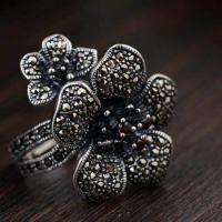 Wholesale Women Antique 925 Sterling Silver Flower Style Marcasite Ring(MKS20021) from china suppliers