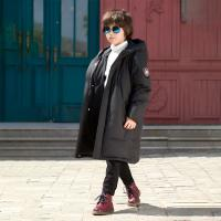 China Bilemi Boys Long Winter Warm Korean Handsome Solid Color Thick Kid Down Jacket Baby Winter Clothes for sale