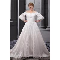 Wholesale Half Sleeve Taffeta Beaded Plus Size Wedding Bridal Gowns with Applique from china suppliers