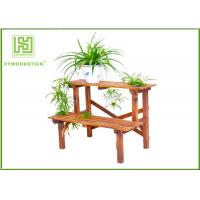China Standing Outdoor Durable Bamboo Flower Pots Garden Shelves For Home for sale