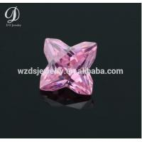Clovers shape / Pink color / synthetic colored cz gemstone for sale