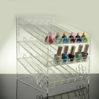 Wholesale 3 - Tier Inclined Ladder Clear Acrylic Nail Polish Display Shelf Rack Black 4mm from china suppliers