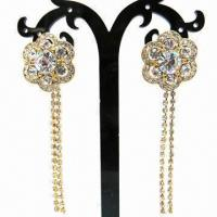Wholesale Rhinestone Drop Earrings, Flower-shaped with Rhinestone-chain, Made of Alloy from china suppliers