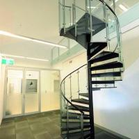Wholesale Customized Tempered Glass Tread Spiral Staircase with Glass Railing from china suppliers