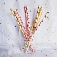 Wholesale Customized Printing Colored Paper Straws , Patterned Drinking Straws For Party from china suppliers