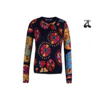 China Open Cardigan Womens Crew Neck Sweaters Button Down With Flower Printing on sale