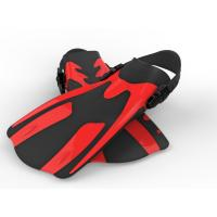 Quality Custom Red Black Skin Diving Fins Training Fins 2 Sizes For Snorkeling for sale