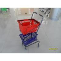 Buy cheap Red / Blue Supermarket Shopping Trolley With 4 Swivel 3 Inch PVC Casters from wholesalers