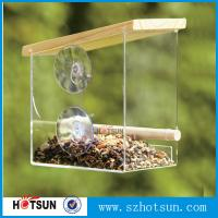 Quality Wholesale acrylic window bird feeder with drain holes, removable tray and water trays ,strong suction cups new for sale