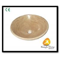 Xiamen Kungfu Stone Ltd supply Beige Wooden Round Stone Sink For Indoor Kitchen,Bathroom for sale