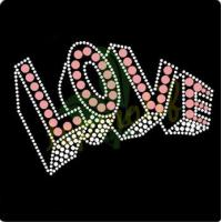 China 3D LOVE lettering wholesale rhinestone t-shirts transfer on sale