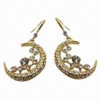 Wholesale Rhinestone Drop Earrings in Moon Design with Rhinestone Group Decorated from china suppliers