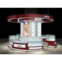 Wholesale Red color painting Cosmetic Display Kiosk with Glass Showcase and Logo in Led Light from china suppliers