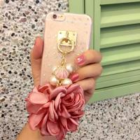 Soft TPU Pink&Blue Pearls Fancy Chain Cell Phone Case Back Cover For iPhone 6 6s Plus for sale