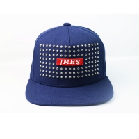 Wholesale Studded Rivet Spike Ox Bull Horn Flat Brim Snapback Cap from china suppliers