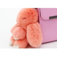 Wholesale Handmade 13cm Fluffy Rabbit Bag Charm , Plush Bunny Handbag Charms Keyrings  from china suppliers