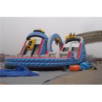 China Ourdoor Playground Big Kid Inflatable Water Slides With Obstacles And Climbing Wall on sale