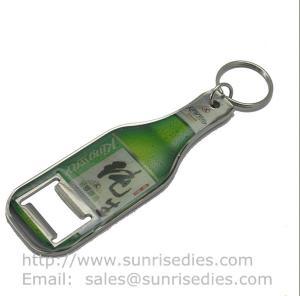 Wholesale Zamak Bottle shaped bottle opener key tag, epoxy dome bottle shape beer opener key ring from china suppliers