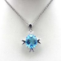 Wholesale Women Jewelry 10x12mm Oval Blue Topaz Cubic Zircon Pendant Necklace  (E07P) from china suppliers