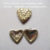 Wholesale Mesh brass heart shaped photo locket for diy jewelry, copper heart locket from china suppliers