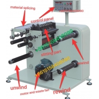 China Paper Slitter Rewinding Machine Rewinder with 8 sets rotary knife for paper label on sale