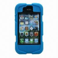 Buy cheap Strong Silicone Case Protective Tough Case for iPhone 4, with Clip and Box from wholesalers