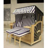Wholesale Double Seat Roofed Wicker Beach Chair & Strandkorb With Wood And Rattan Frame from china suppliers