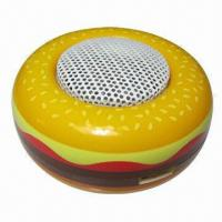 Wholesale Mobile Phone Mini Speakers in Hamburger Style, with Built-in Rechargeable Battery, Portable/Creative  from china suppliers