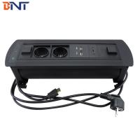 Wholesale Black Table Flip Up Power Connector  With 2* EU Standard  Power from china suppliers
