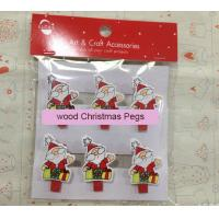 Wholesale Novelty Father Christmas Pegs Pack of 6 gift wood pegs from china suppliers