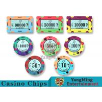 China 40 / 43mm Diameter Ceramic Casino Chips Bright Colors With Custom Printed Design on sale