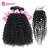 Wholesale No Tangle Brazilian Curly Hair Bundle Deals With 4×4 Inches Lace Closure from china suppliers