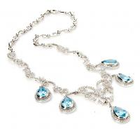 Wholesale Light Blue Silver Fashion Jewelry Crystal Fashion Statement  Collar Necklace from china suppliers