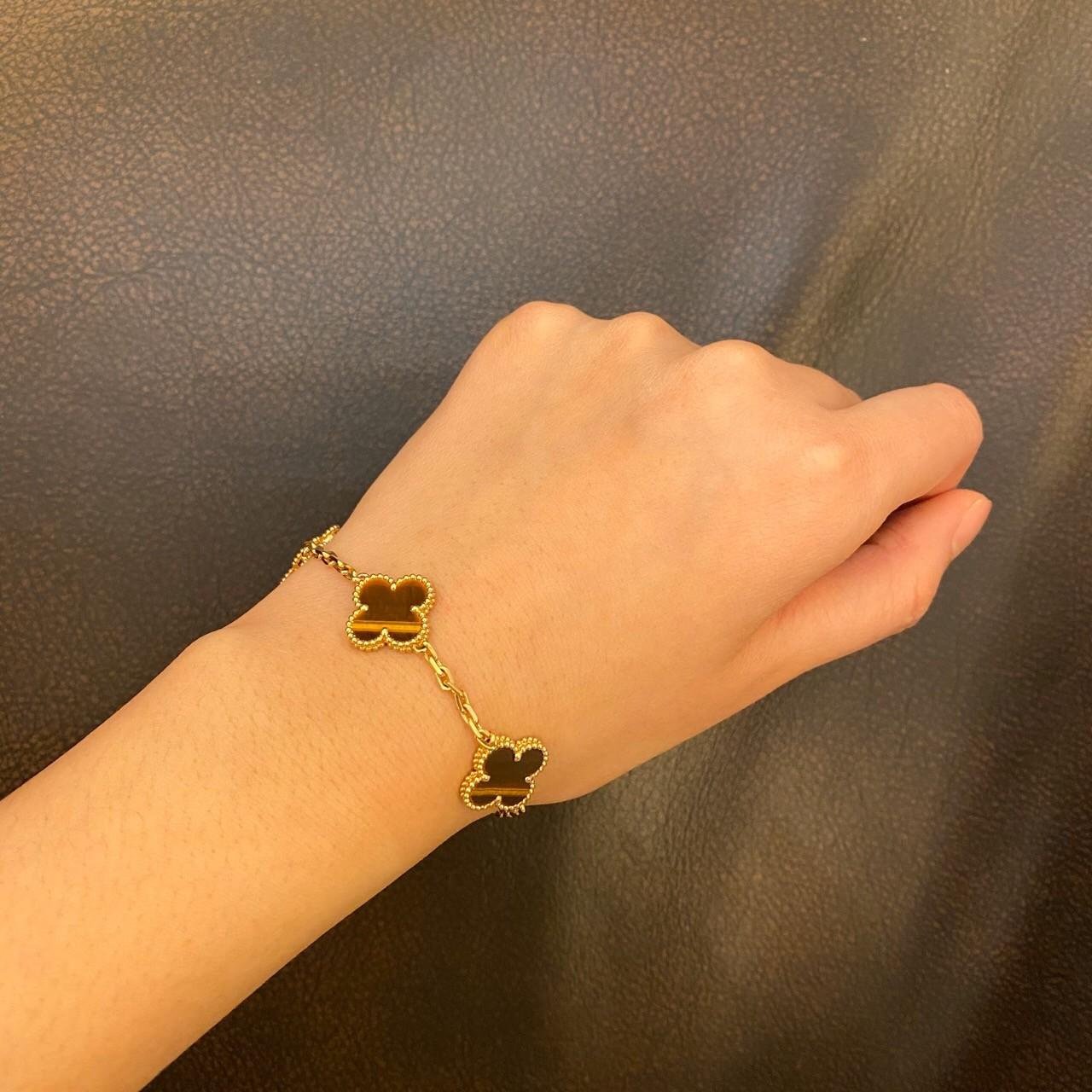 Wholesale Yellow Gold Van Cleef & Arpels Vintage Alhambra Bracelet 5 Motifs With Tiger'S Eye Stone from china suppliers